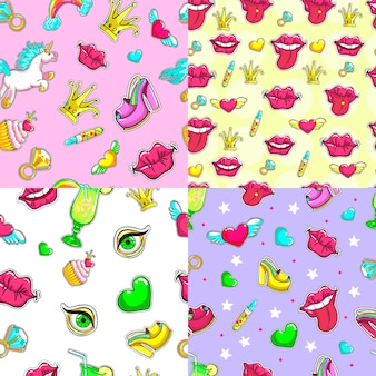 Cartoon female patches seamless patterns set