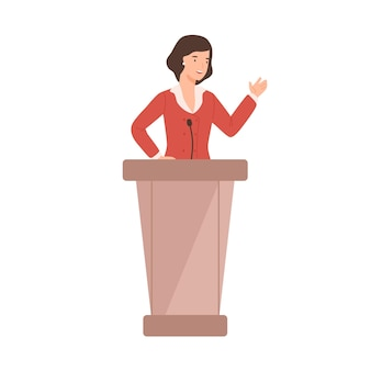 Cartoon female politician perform in front of audience flat illustration