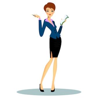 의제에 메모를 작성하는 동안 공식적인 옷을 입고 만화 여성 전문 비서 또는 비즈니스 플래너