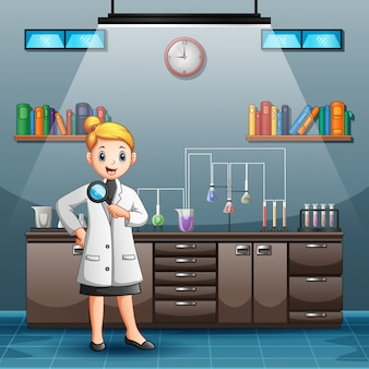 Cartoon female scientist holding magnifying glass