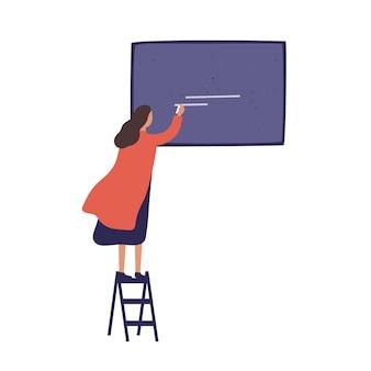 칠판에 whiting 계단에 서 있는 만화 여성은 분필 벡터 평면 그림을 사용합니다. 흰색 절연 보드에 다채로운 여자 쓰기 발표. 프레젠테이션 프로젝트를 준비하는 창의적인 소녀.