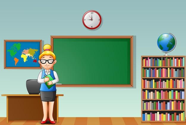 漫画の女性教師は、教室に立って
