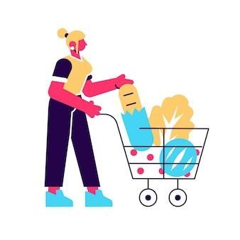 Cartoon female with shopping cart full of products flat illustration. colorful customer woman with trolley isolated on white. shopper girl carrying eco food, bread, vegetable and fruit