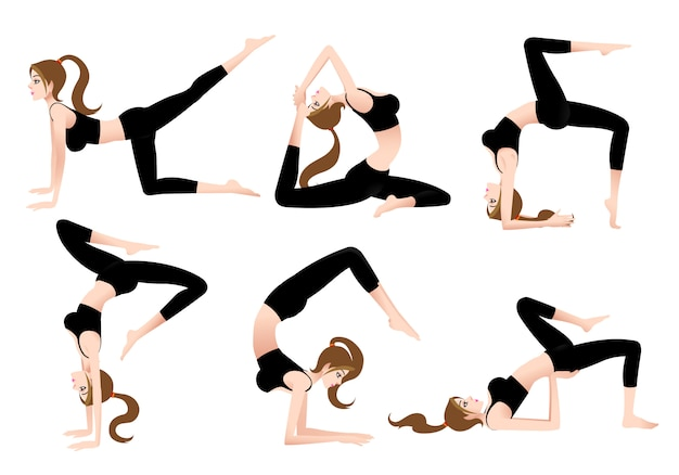 Cartoon female yoga trainer自分でヨガをすることができます。