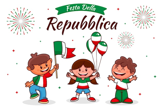 Cartoon festa della repubblica illustration