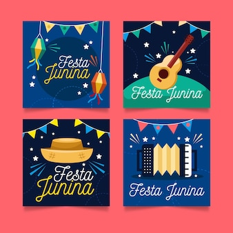 Cartoon festa junina cards collection