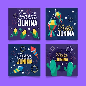 Cartoon festa junina cards collection