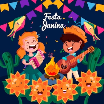 Cartoon festa junina illustration
