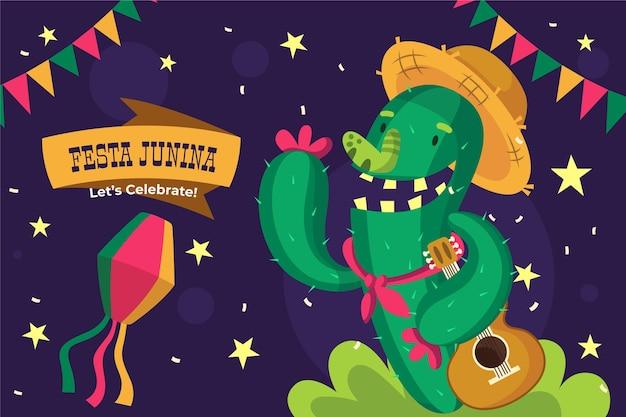 Cartoon festa junina illustration