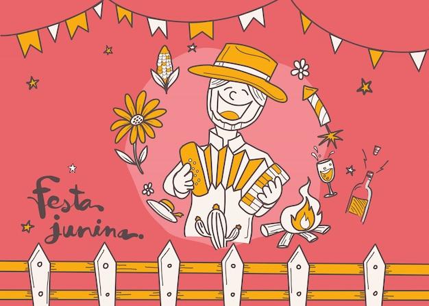 Cartoon for festa junina village festival in latin