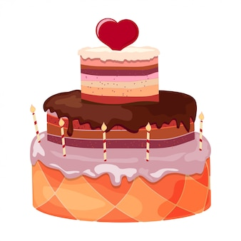 Cartoon festive sweet cake with candles and red heart on a white background.