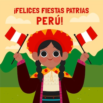 Cartoon fiestas patrias de peru illustrazione