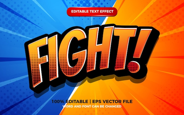ハーフトーンのテクスチャとスーパーヒーローの背景を持つ漫画の戦い編集可能なテキスト効果