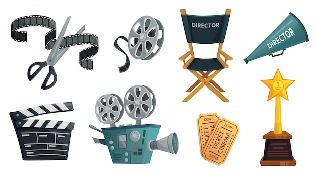 Cartoon film studio. cinema video camera, movie clapperboard and directors megaphone  illustration set