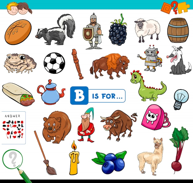 Cartoon of find picture start with letter b game