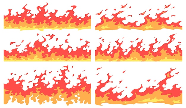 Cartoon fire border. flame divider, bright fire flames borders and seamless blaze