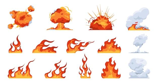 漫画の火の炎。平らな火の玉の煙と爆発の効果、さまざまな形の炎