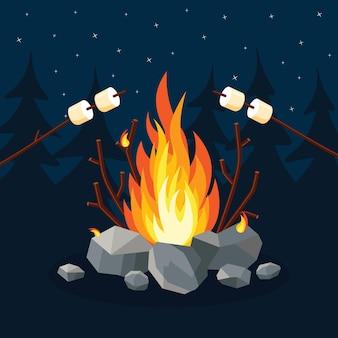 Cartoon fire flames, bonfire, campfire in forest