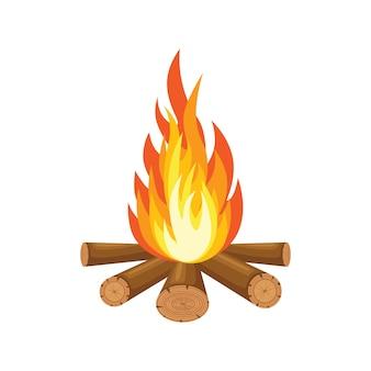 Мультяшный огонь пламя, костер, костер, изолированные на фоне.