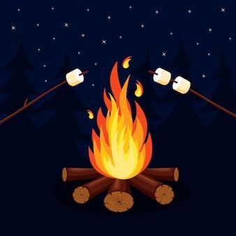 漫画の火の炎、焚き火、背景のキャンプファイヤー。