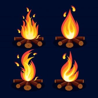 漫画の火の炎、たき火、背景にキャンプファイヤー。
