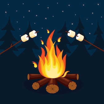 Cartoon fire flames and campfire
