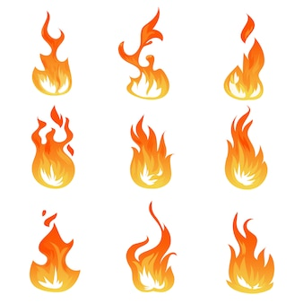 Cartoon fire flames  set, ignition light effect, flaming symbols