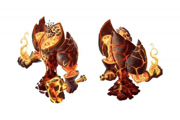 Cartoon fire golem, game character isolated