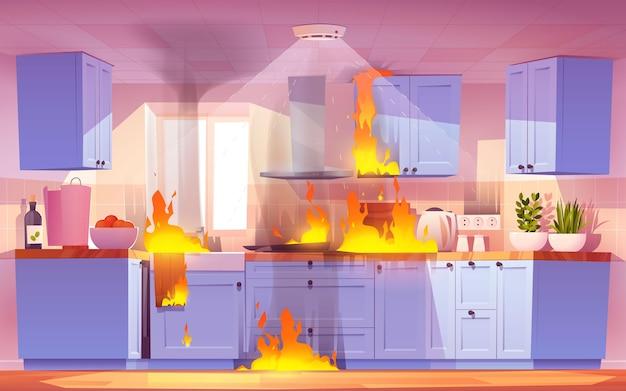 Cartoon fire kitchen illustration