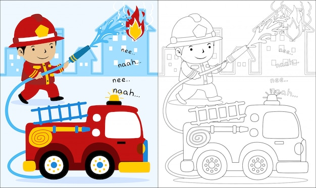 Cartoon of fire rescue