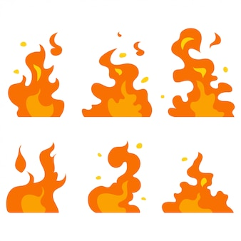 Cartoon fire vector set
