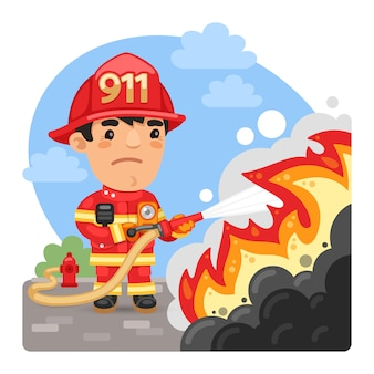 Cartoon firefighter extinguishes a fire