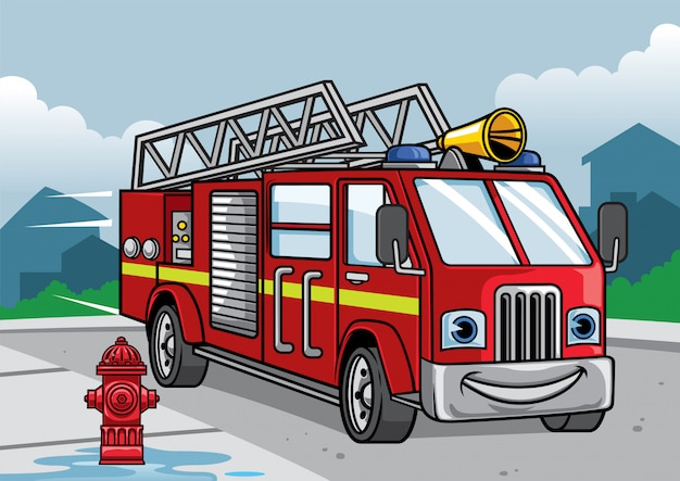 Cartoon of firefighter truck illustration