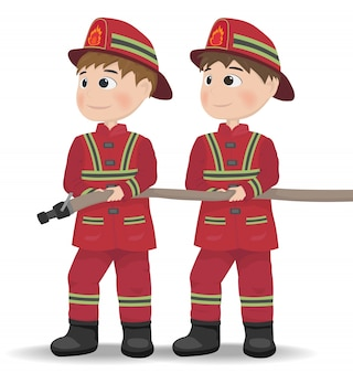 Cartoon fireman character icon Premium Vector