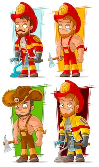 Cartoon fireman in uniform character set