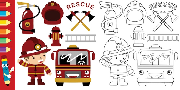 Cartoon of fireman with firefighter equipment tools