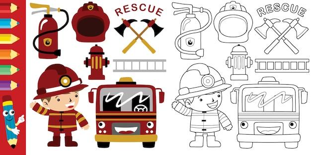 Cartoon of fireman with firefighter equipment tools