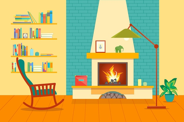 Cartoon fireplace interior for house flat style design domestic comfort