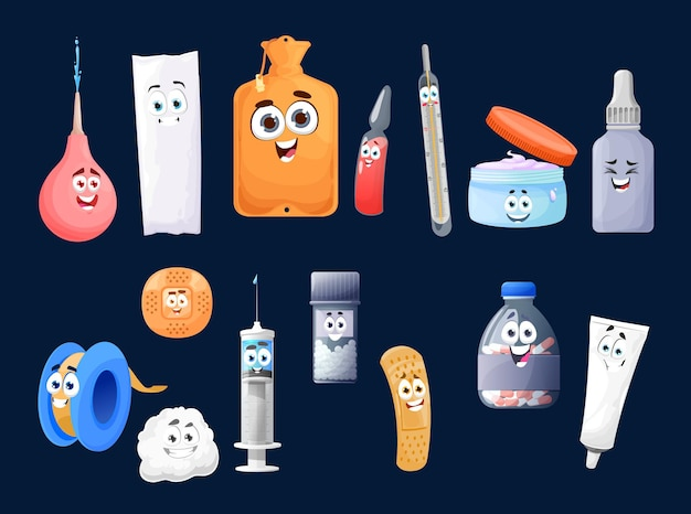 Cartoon first aid kit characters, vector medicine pills in bottle, cute happy clyster, syringe and thermometer with ointment in jar. capsule with tablets and patch, cotton pad and cream tube