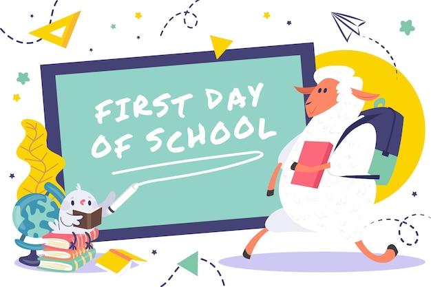 Cartone animato primo giorno di scuola sfondo