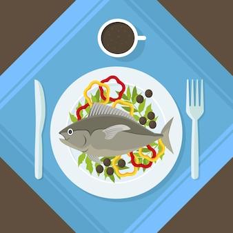 プレート上の漫画の魚と新鮮な野菜健康的なシーフードの上面図。平らな