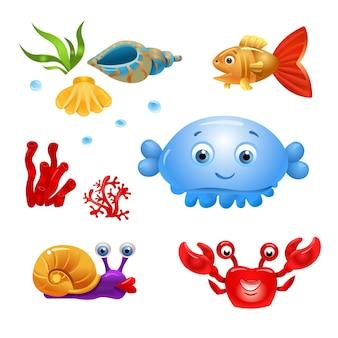 Персонажи мультфильмов рыбы изолированные