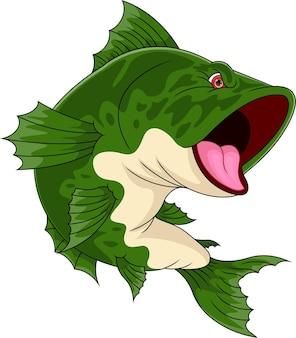 흰색 배경에 고립 된 만화 물고기
