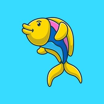 Мультяшная рыба на синем