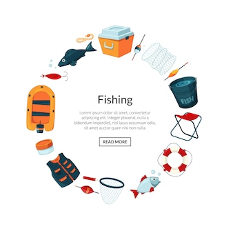 Cartoon fishing equipment in circle form with place for text in center