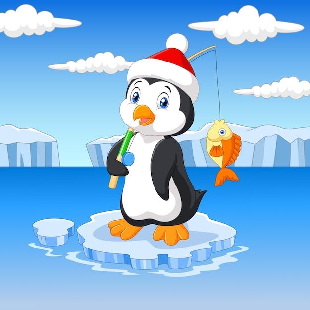 Cartoon fishing penguin standing on ice floe