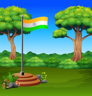 Cartoon flag of india in a green nature