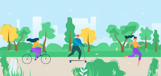 Cartoon flat active people city dwellers illustration