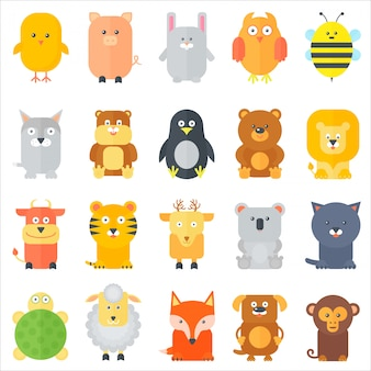 Cartoon flat animals icons set