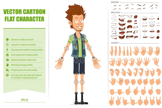 Cartoon flat bearded hipster man character in jeans shorts and jerkin